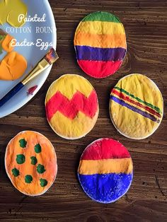 Cotton Round Painted Easter Eggs
