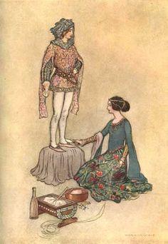 Betta making Pintosmalto.Basile, Giambattista. Stories from the Pentamerone. E. F. Strange, editor. Warwick Goble, illustrator. London: Macmillan & Co., 1911.