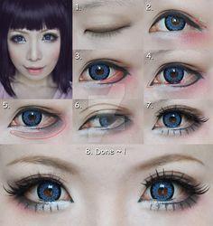 Dolly eyes makeup tutorial - suit for Cosplay by mollyeberwein.deviantart.com on @DeviantArt
