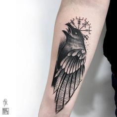 Blackwork Raven Tattoo by Marta Kudu