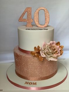 Informations About Beautiful Rose Gold & White - Happy Birthday Cake . 40th Birthday Cake For Women, Birthday Cake Roses, 40th Birthday Decorations, 40th Cake, Beautiful Birthday Cakes, 21st Birthday Cakes, Happy 40th Birthday, Homemade Birthday Cakes, Birthday Cake Decorating