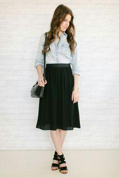 Chambray Shirt/ Black Midi Skirt
