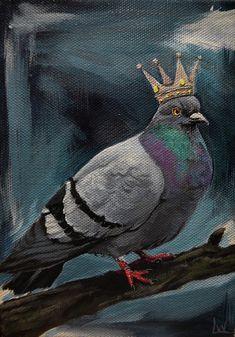 Pigeon Art Print featuring the painting Royal Pigeon by Lauren White Cute Pigeon, Abstract Face Art, Pigeon Breeds, Bird Netting, Watercolor Beginner, Art Costume, Millenium, Art Challenge, Pet Portraits