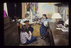 """Students hanging out in a Johnson Complex dorm room"" --To learn more, visit the Ball State University Campus Photographs in the Ball State University Digital Media Repository. Copyright 2012, Ball State University. All rights reserved"