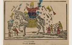 Wolvendans, St. Nicolaas en kwakzalver. (kader van volksprent)