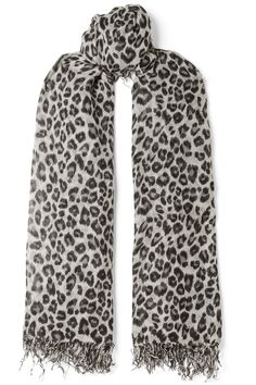 Chan Luu - Fringed leopard-print cashmere and silk-blend scarf Leopard Print Scarf, Chan Luu, Top Designer Brands, Every Woman, Scarf Styles, Fashion Online, Cashmere, Silk, Crochet
