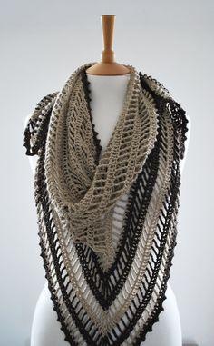 inspiration - crochet shawl tiramisu triangular bamboo beige by annerstreet Crochet Shawls And Wraps, Crochet Poncho, Knitted Shawls, Love Crochet, Crochet Scarves, Crochet Yarn, Crochet Clothes, Shawl Patterns, Crochet Patterns
