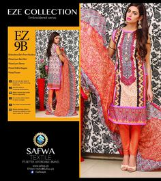 EZ9B - SAFWA - EZE COLLECTION - THREE PIECE SUIT - LAWN  #Affordable #ladiesclothing #dresses #onlineshopping #Brand #safwa #Better #womenclothing #safwapk #shoponline