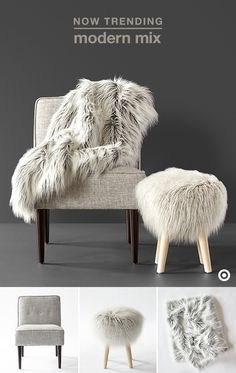 Faux fur is back in a big way for fall, and it's easy to incorporate this trend into your home. Glam up the look of a couch or favorite upholstered chair with a faux-fur throw in a frosted gray hue, or give your feet a place to prop with this gorgeous frosted gray faux-fur stool. Bottom line? Whether one key addition to your space, or a few different pieces, you really can't go wrong. Simply stunning.