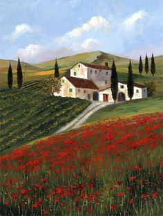 Field of Poppies by H.Hargrove..Nicolo Sturiano b. 1941...came to America in 1964 to pursue his profession as winemaker...but started painting American scenes much as Norman Rockwell did in earlier years!