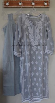 Chikankari kurti on georgette with Mukaish add ons. Kurti length: 46 inches Pair it with a georgette Chikankari palazzo or pants ! Cotton Dress Indian, Dress Indian Style, Indian Outfits, Emo Outfits, Emo Dresses, Trendy Dresses, Party Dresses, Fashion Dresses, Pakistani Suits