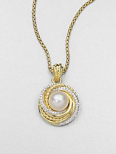 David Yurman - Pearl, Diamond & 18K Gold Pendant Necklace