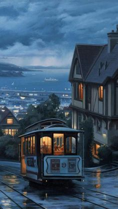 Dusk, San Francisco, California, United States, we lived right in front of this house! (Homesick)