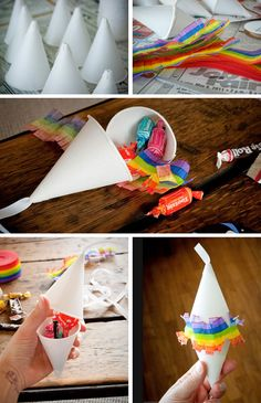 How to make mini piñatas - party favor. No paper mâché needed. Toddler kid easy quick paper cup, trim, hot glue, candy. Use them as decor and then give them away. No fighting over prizes, no big stick! Mexican cinco de mayo September 16 Independence Day craft