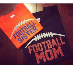 Football Mom Sister Dad Brother Glitter TShirt by KaylansKreations