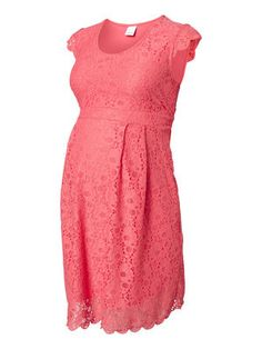 LACE MATERNITY DRESS, SHORT, Calypso Coral