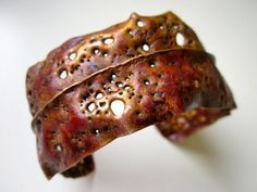 Old Hunters Never Die - primitive fold formed weathered golden brassy red copper wide cuff apocalyptic organic firescale oxidized metalwork by LoveRoot on Etsy