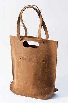 handmade leather bag darkbrown by chrisvanveghel on Etsy