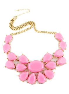 Pink Drop Gemstone Gold Chain Necklace US$8.67
