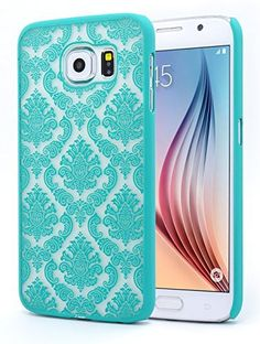 Galaxy S6 Case, NageBee - Samsung Galaxy S6 Diva Lace Damask Design Ultra Slim Translucent Rubber Coating Hard Case for Samsung Galaxy S6 (Lace Teal Green), http://www.amazon.com/dp/B00VCJJBOE/ref=cm_sw_r_pi_awdm_9vnAvb1828RQS