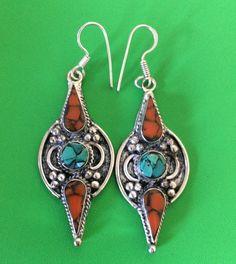 Handmade Jewellery Tibetan Silver Turquoise and Coral Drop Dangle Earring #Handmade #DropDangle