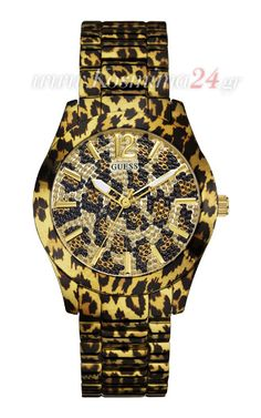 Guess Watch for Women Guess Ladies FIERCE Leopard Gold Watch >>> You can get additional detail Bracelet Cuir, Bracelet Watch, Resin Bracelet, Bracelets, Sporty Watch, Fierce, Animal Magnetism, Stainless Steel Bracelet, Fashion Watches