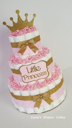 Beautiful diaper cake for babay shower or to celebrate the arrival of baby. 3 Tier Pink & Gold Little Princess diaper Cake, Girl Baby Shower Centerpiece, Tiara Decoration Décoration Baby Shower, Gateau Baby Shower, Gold Baby Showers, Baby Shower Princess, Baby Shower Diapers, Girl Shower, Baby Shower Cakes, Baby Shower Gifts, Girl Baby Shower Decorations