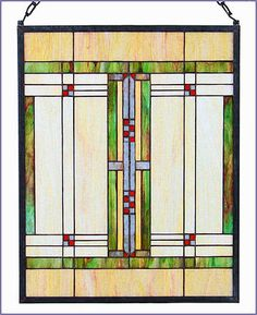 This Arts and Crafts Prairie Stained Glass Panel is hand made using the copperfoil process. Frank Lloyd Wright