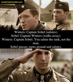 Band of Brothers. Damien Lewis, David Schwimmer. Oh snap! Zing