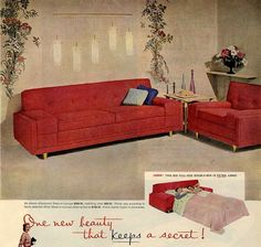 1950s decorating style trends from retro-renovation.  Heywood-Wakefield and Kroehler Streamline Moderne.  These items, with their bulky, rounded edges, are carryovers from the pre-war era. In a way, this is not really 1950s style — it's 1940s style. But, when World War II was on, making furniture ground pretty much to a halt. After the war, manufacturers pulled out their designs from before the war & started producing them to meet demand. It took a while for new designs to be introduced.