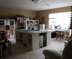Ideas For Sewing Studio Space Layout Cutting Tables Sewing Room Design, Sewing Spaces, My Sewing Room, Sewing Studio, Sewing Rooms, Sewing Room Organization, Craft Room Storage, Craft Rooms, Storage Ideas