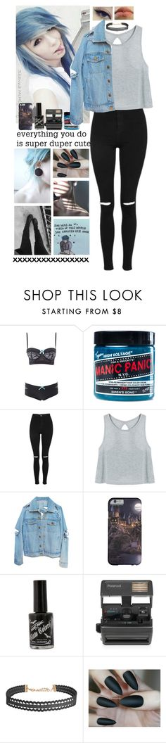 """""""❁; you're eyes smothering me, mirrors start to whisper, shadows start to breathe..."""" by dapizzaluver ❤ liked on Polyvore featuring Charlotte Russe, Manic Panic NYC, Topshop, Impossible and Humble Chic"""