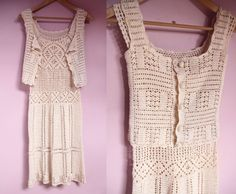 Hello,  This is a 3 piece crochet set including a stunning dress, a vest and an underdress.  -Decade : 60s / 70s -Label: No label, handmade -Size : better fits a size small, please ask me for measurements -Fabric : cotton  -Condition : Very good, only one light yellow spot on the right strap of the vest (please see last picture)   Feel free to contact me if you have any question, Ill be happy to answer you ! Item is send by colissimo (package ) with proof of sending.