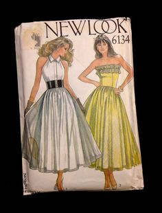 Vintage HALTER TOP or STRAPLESS Dress Sewing Pattern - Beautiful Party Dresses 6 Sizes Including Plus Sizes