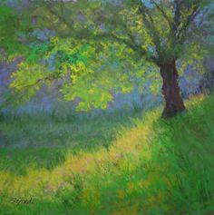 "©2012 Paula Ann Ford, Sunlit Tree, Soft Pastels, 10""x10"""