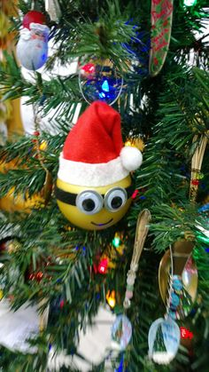 Santa Minion Ornament by ForeverAfterFinds on Etsy