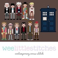 Doctor Who - Eleven Doctors - Cross-Stitch Pattern.  I think I just found Charles' birthday present!