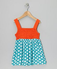 Another great find on #zulily! Turquoise & Orange Polka Dot Shirred Dress - Infant & Toddler #zulilyfinds