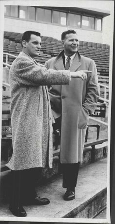 Indians General Mgr. Frank Lane with Dan Zerbey, General/Business Manager for the Indians' A franchise in Reading, Pa., 1958.  Reading's Municipal Stadium was built in 1948, and the Indians first played there in 1952.  Under Zerbey's tenure, Rocky Colavito, Roger Maris, Herb Score, Mudcat Grant, Joe Altobelli, Earl Averill Jr. and a number of other Indians passed through Reading on their way to Cleveland.