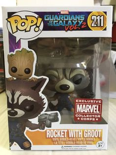 Funko POP! Marvel ROCKET With GROOT Collector Corps Exclusive GOTG Vol.2 MINT | eBay