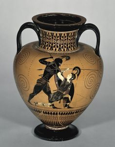 Black-figured amphora (wine-jar) signed by Exekias as potter and attributed to him as painter Date created: -530/-525 Physical Dimensions: Height: 41.00cm; Width: 29.00cm; Diameter: 18.00cm (This refers to the mouth of the vase.) ||| Penthesilea brought her Amazon warriors to help the Trojans defend their city, but was killed in combat with Achilles, the greatest of the Greek warriors. The scene on this vase shows Achilles looming above her as she sinks to the ground.