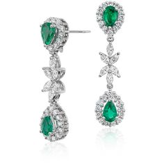 Blue Nile Emerald and Diamond Dangle Earrings (126 420 UAH) ❤ liked on Polyvore featuring jewelry, earrings, diamond dangle earrings, 18k earrings, diamond earring jewelry, blue nile jewelry and emerald earrings
