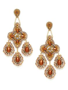 Bronze & Gold Bead Chandelier Earrings by Miguel Ases on Gilt.com