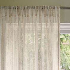 "Linen Stripe Window Panel   100% linen. 50"" wide; rod-pocket top is 3.5""H. Dry clean. Imported. Available in multiple sizes. Blackout panel sold separately. (Item # WIN9-01)"