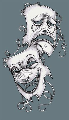 Tattoo Design Theater Masks by tjiggotjurring.deviantart.com on @deviantART