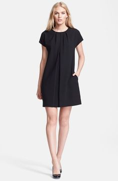 Crepe shift dress at Nordstrom.com. Inverted pleats create the A-line silhouette of a cap-sleeve dress fashioned with textured crepe construction.