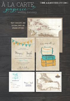 Vintage Suitcases Destination Wedding by alacartepaperie on Etsy