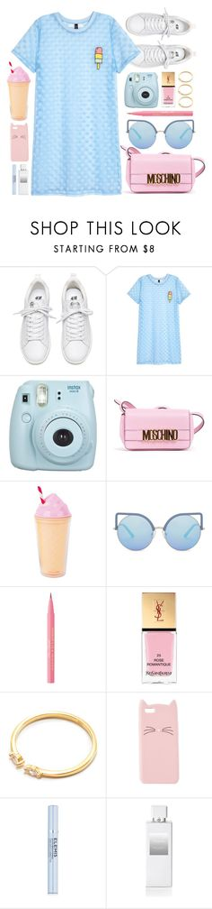 """Ice Cream"" by monmondefou ❤ liked on Polyvore featuring Fujifilm, Moschino, Sunnylife, Matthew Williamson, Too Faced Cosmetics, Yves Saint Laurent, Charlotte Russe, Elemis, Henri Bendel and Pink"