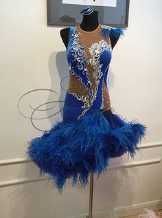 Ajour Design London - blue with silver latin dress diagonal feather skirt