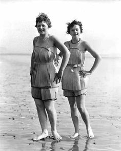 Spruce veneer bathing suits are so flattering to every kind of figure, circa 1929